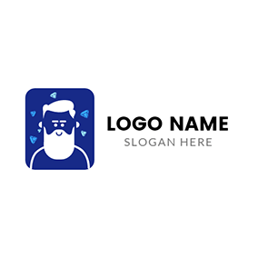 Blue and White Hipster Man logo design