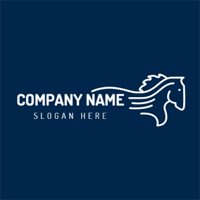 Blue and White Horse logo design