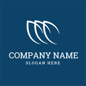 Blue and White Leaf logo design