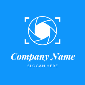 Blue and White Lens logo design