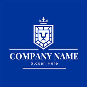 Blue and White Lion logo design