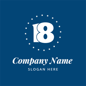 Blue and White Number Eighteen logo design