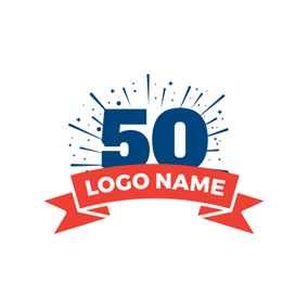 Blue and White Number Fifty logo design