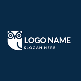 Blue and White Owl Icon logo design