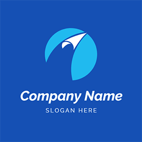 Blue and White Paper Airplane logo design