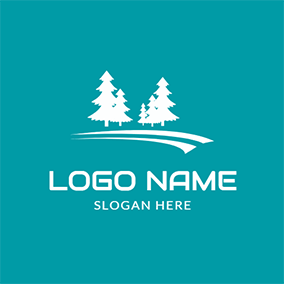 Blue and White Pine Tree logo design
