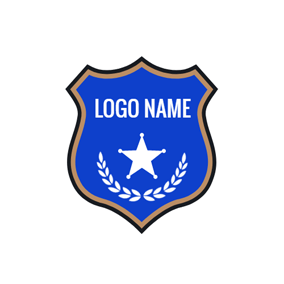 Blue and White Police Badge logo design