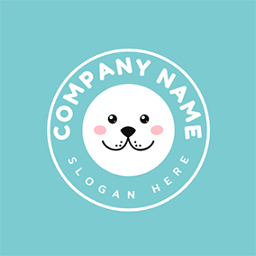 Blue and White Seal Face logo design