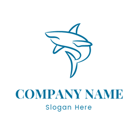 Blue and White Shark logo design