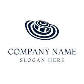 Blue and White Striped Hat logo design