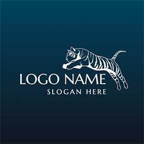 Blue and White Tiger Mascot logo design