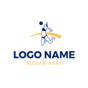 Blue and White Volleyball Athlete logo design