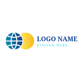 Blue and Yellow Earth logo design