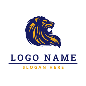 Blue and Yellow Howling Lion logo design