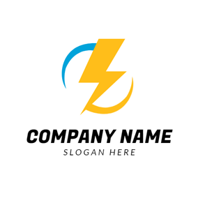Blue and Yellow Lightning Shaped logo design