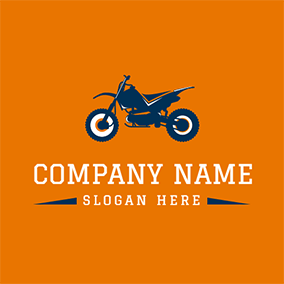 Blue and Yellow Motorcycle Icon logo design