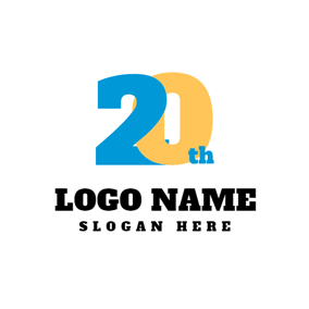 Blue and Yellow Number Twenty logo design