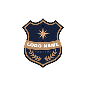 Blue And Yellow Police Badge Logo Design