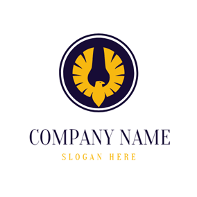 Blue and Yellow Volant Eagle logo design