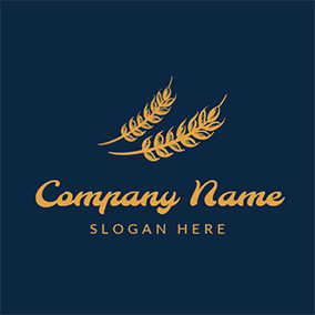 Blue and Yellow Wheat logo design
