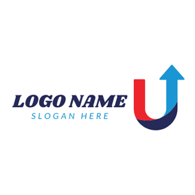 Blue Arrow and Letter U logo design