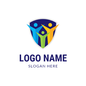 Blue Badge and Abstract Family logo design