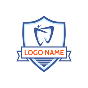 Blue Badge and Abstract Tooth logo design