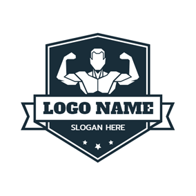 Blue Badge and Bodybuilder logo design