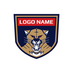 Blue Badge and Brown Cougar logo design