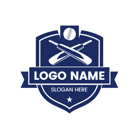 Blue Badge and Cross Bat logo design