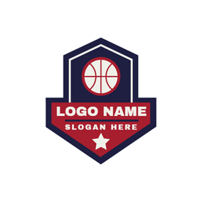 Blue Badge and White Basketball logo design
