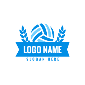Blue Banner and Green Football logo design