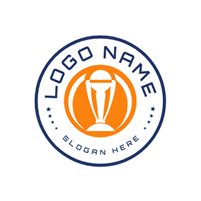 Blue Banner and Orange Cricket logo design