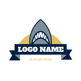 Blue Banner and Shark Head logo design