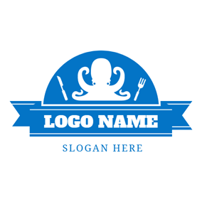 Blue Banner and White Octopus logo design