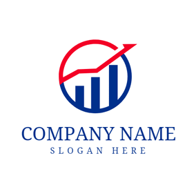 Blue Bar Graph and Stock logo design