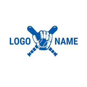Blue Baseball Bat and Baseball logo design