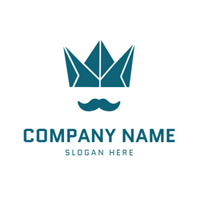 Blue Beard and Crown logo design