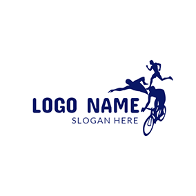 Blue Bicycle and Combination Triathlete logo design