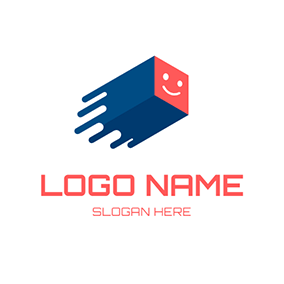 Blue Box and Red Smile logo design