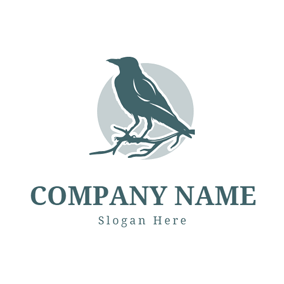 Blue Branch and Raven logo design