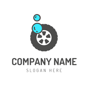 Blue Bubble and Black Car Tire logo design