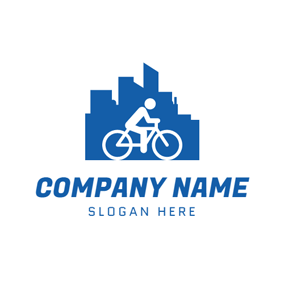 Blue Building and Bicycle logo design