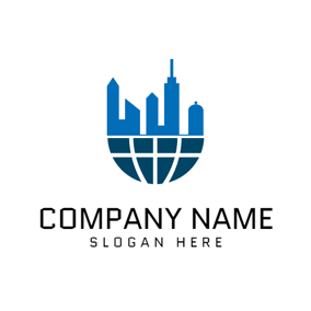 Blue Building and Dark Green Earth logo design