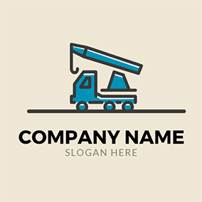 Blue Car and Crane Icon logo design