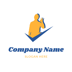 Blue Check and Yellow Handyman logo design