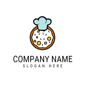 Blue Chef Hat and Pizza logo design