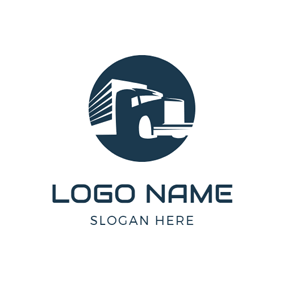 Blue Circle and Abstract Truck logo design