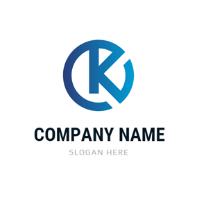 Blue Circle and Alphabet K logo design