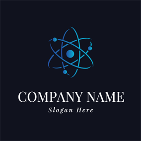 Blue Circle and Atom logo design